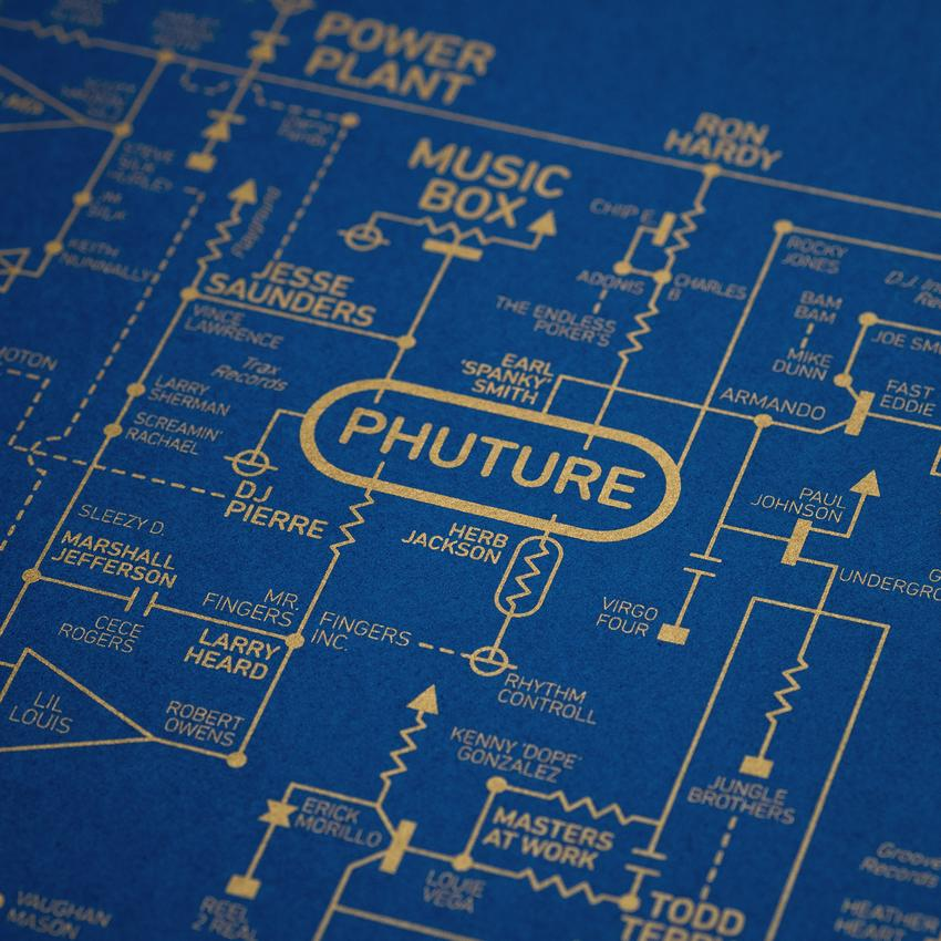 Dorothy add rave culture map to their music history poster series other topics covered in the blueprint series include histories of alternative music and hiphop screen printed in blue or yellow acid house love blueprint malvernweather Choice Image