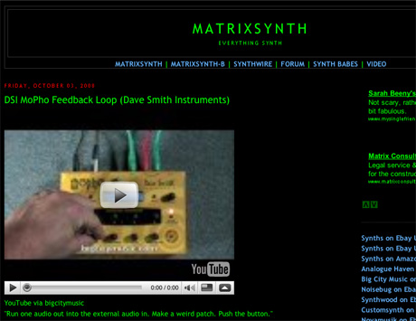 Benge's Link Of The Day 06/10/08 Matrixsynth