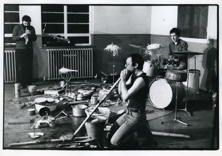 Evan Parker, David Toop and Paul Burwell at the London Musicians' Collective 12 February 1978