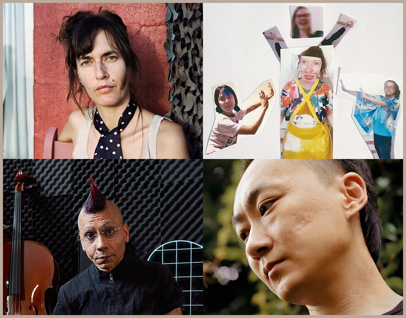 Clockwise from top left: Josephine Foster by André Cepeda; Alligator Gozaimasu (crop) by Heather Glazzard; Lao Dan of BBB & BBB by Li Hui; C-drík by Joseph Kadow