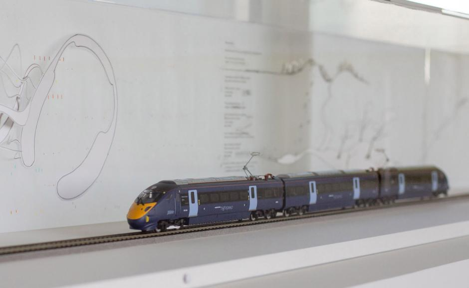 Model train installation at Turner Contemporary depicting Sonorama