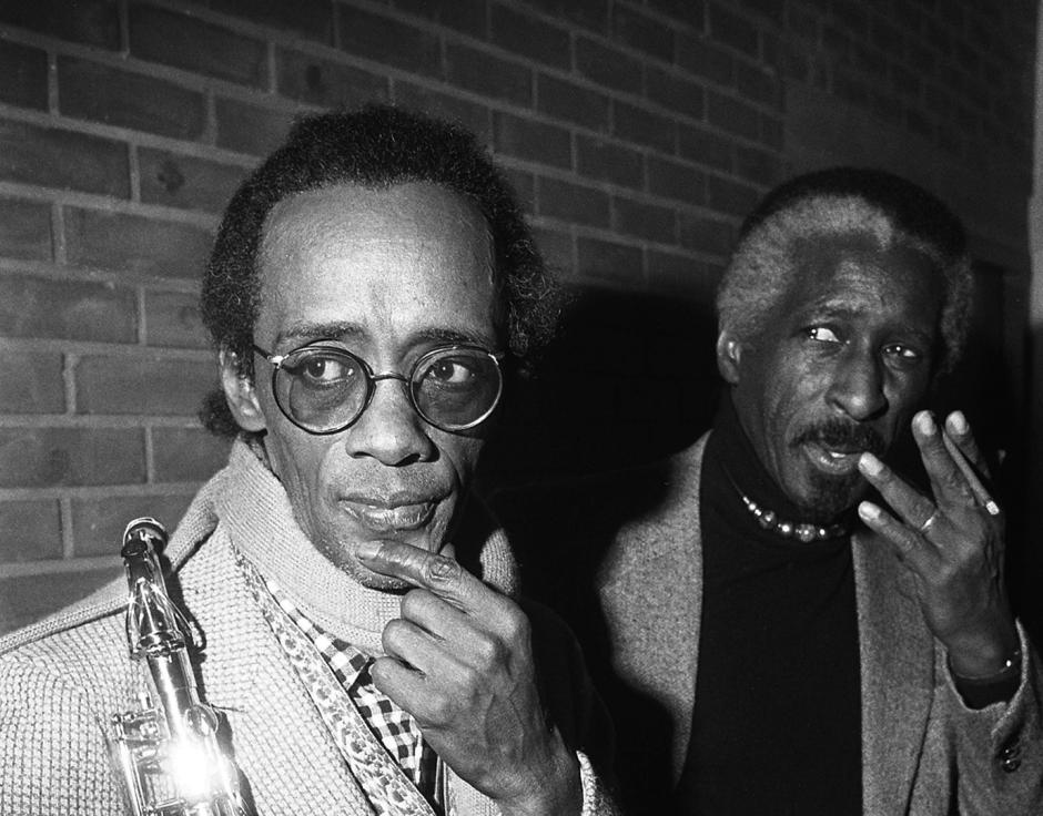 Marion Brown (left) and Mal Waldron at a Gérard Terronès event, 1986