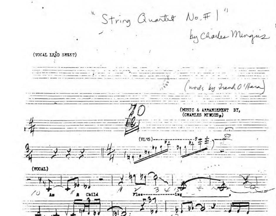 A sheet from Charles Mingus's String Quartet No 1 score